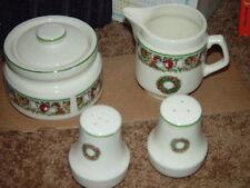 4 Pcs Stoneware Sugar Bowl ,Creamer, Salt & Pepper Shaker 1995