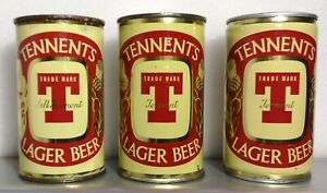 Rare J&R Tennent Thistle 12oz F/T Can, 1956-66, and two later versions
