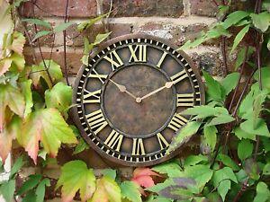 Large Outdoor Garden Wall Clock Open Face Metal Big Roman Numerals Indoor Rustic