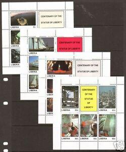 Liberia Sc 1065-1068 MNH. 1978 Statue of Liberty, cplt set of souvenir sheets
