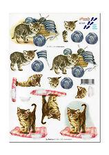 3D Motivbogen Etappenbogen 3D Bild Katze Katzen mit Wolle Katzenmotiv (060)