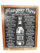 Hangover Cures  Party Tin Metal Sign Decor FUNNY HUMOROUS Beer College