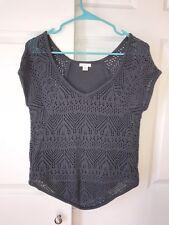 Xhilaration Women's Short Sleeve Knit Sweater Blue Purple Size Xs