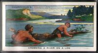 Primitive Man Crossing A River On A Log c80 Y/O Ad Trade Card