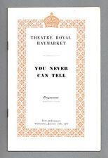 """Ralph Richardson """"YOU NEVER CAN TELL"""" Bernard Shaw 1966 London Playbill"""
