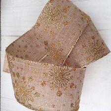 Gisela Graham Natural Gold Glitter Snowflake Christmas Cake Ribbon 1m Length