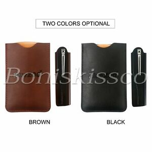 Men's Double-Ended Mustache Comb Hair Care Folding Comb w/ Leather Case Gift Set