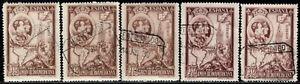 1930.Edº580(5).Iberoaméricana.10 pts castaño.5 sellos usados