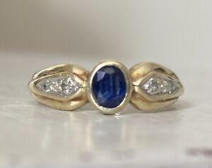 9ct Gold Sapphire & Diamond Ring, Bezel/ Rub-over Setting. Size L 1/2