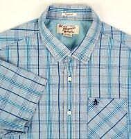 Penguin Short Sleeve Mens Shirt Size L Large Blue & Gold Check Classic Fit Blend