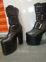 BLACK GOTH PUNK  DEMONIA TORMENT WOMANS ANKLE BOOT HEELS 8