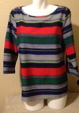 BANANA REPUBLIC Ladies Multicolor Striped Blouse Size L Excellent Condition