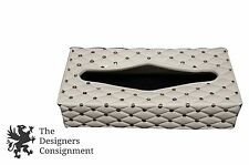 Porcelain Tissue Box Cover Quilted Texture White Gold Kleenex Stoneware Pottery