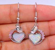 SUPERB Silver/Rhodium Plated WHITE LAB FIRE OPAL/TOPAZ HEART Earrings 36x15mm