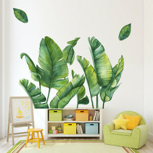 2pcs 43cm*60cm Green Leaves Wall Stickers Bedroom Living Room Kitchen DIY Decor
