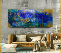 Gold Abstract Wall Art Blue Modern Original Paintings Canvas wall Art by Nandita