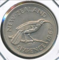 New Zealand 1963 Sixpence 6d Elizabeth II - Uncirculated