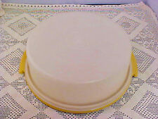 Tupperware Single Tier Cake Carrier Harvest Gold 719 with Cover 720 Vintage
