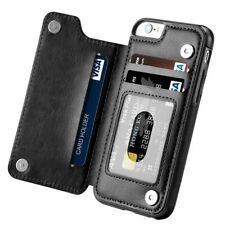 Ranura para tarjeta magnética de cuero Billetera Estuche a prueba de choques Abatible Cubierta Para iPhone 7 6 Plus