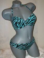 Victoria Secret Retro Push Up Blue Zebra Swimsuit Bikini 34C S