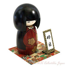 Lovely Japanese Creative Kokeshi Doll KOJITSU (LUCKY DAY), RED by Usaburo #015