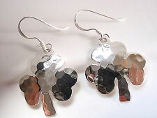 Hammered Clover Earrings 925 Sterling Silver Dangle Corona Sun Jewelry