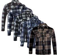 Mens Polar Brushed Fleece Shirt Lumberjack Work Check Warm M - 3XL