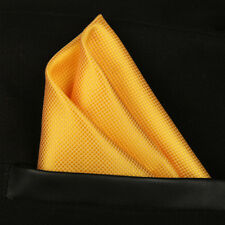 (T10) Yellow Gold Solid Check Men Pocket Square Hanky Wedding Party Handkerchief