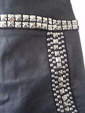 punk skirt black embellished mini skirt metal beads studs uk size 10