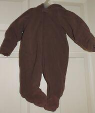 New Baby Boys size 0-3 Months Brown Bear Pram Microfleece Faux Fur Hood Suit