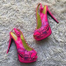 Ed Hardy Fuchsia Pink Platform Pump Heels Flower Print Size 8