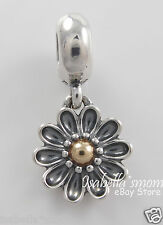 Retired OOPSIE DAISY Authentic PANDORA Silver/14K GOLD Flower Dangle 791210 NEW