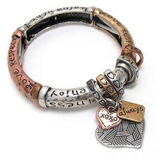 Inspirational Messages Heart Charm Tri-Color Stretch Bracelet