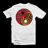 Tartan Leopard Print YING YANG T-Shirt Fashion Cool Men Ladies Women Lads