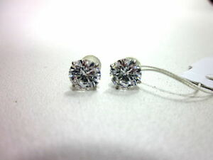 10K GOLD SWAROVSKI ZIRCONIA STUD EARRINGS (3 CTTW) SILICONE CLUTCHES MADE IN USA