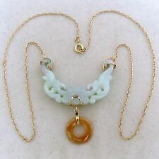 """Chinese Natural A Grade Green & Red JADEITE Jade & 14K Gold 18"""" Necklace w/ COA"""