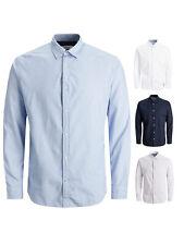 Jack & Jones Herren Business-Hemd JjePlain Poplin Slim-Fit Freizeit-Shirt SALE