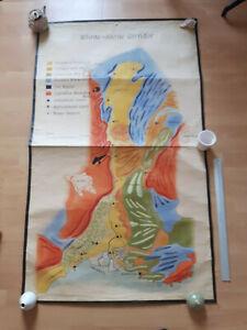 Vintage school map, hand-painted, very large - Geology France Rhone Saone