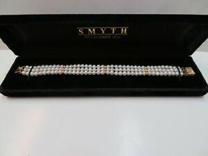 14k Solid Y. Gold Filigree Clasp Pearl Triple Strand Bracelet 14k Space Bar
