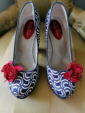 Ruby shoo Navy & White with red flower 'Eva' Court shoe