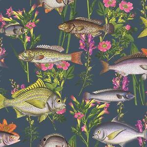 Lagune Fisch & Blumen Unterwasser Luxus Tapete - Mitternachtsblau 50150