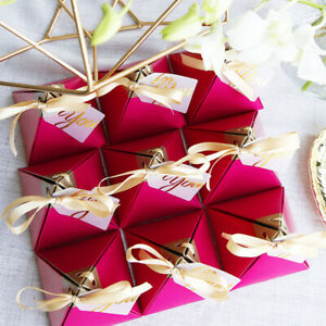 10Pcs Rose Red Triangular Pyramid Sweet Candy Box Wedding Favor Paper Gift Boxes