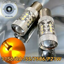 Front Turn Signal Light 1156 BA15S 3497 1141 7506 P21W 80w LED Bulb Amber W1 JAE