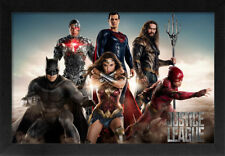 DC JUSTICE LEAGUE 13x19 FRAMED GELCOAT POSTER SUPERHERO DC COMICS MOVIE TEAM NEW