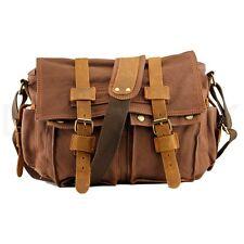 "Men's Military Canvas Leather Satchel School 14"" Laptop Shoulder Messenger Bag"