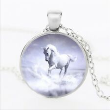 White Cute Horse Crystal Glass Pendant Necklace Jewelry Gift Bag - Silver