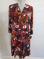 NWT JUST TAYLOR SIZE 14 MULTI COLOR FAUX WRAP DRESS MSRP $128.00