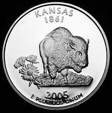 2005-S 25C State Quarter Kansas rr  GDC Proof CN-CLAD 50 cent Shipping