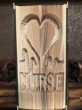 Nurse BOOK FOLDING ART SCULPTURE hardback cut & folded Heartbeat