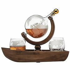 Godinger Whiskey Decanter Ship Globe Set with 2 World Whisky Glasses - for...